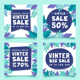 Winter sale instagram posts collection