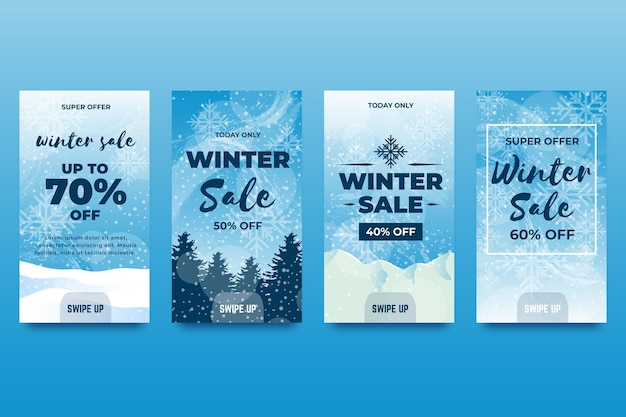 Winter sale instagram stories collection