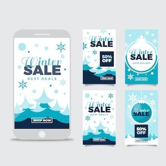 Collezione di storie di instagram di vendita invernale