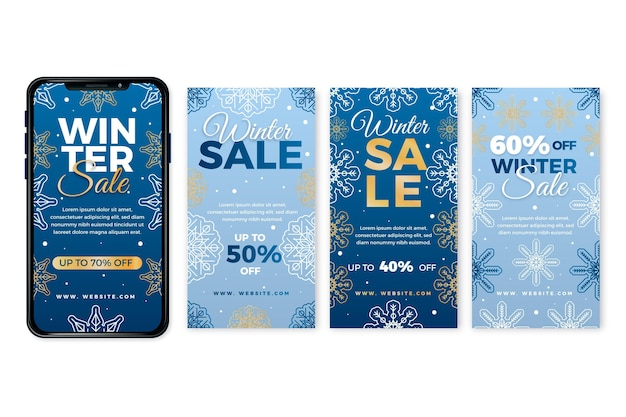 Winter sale instagram stories template