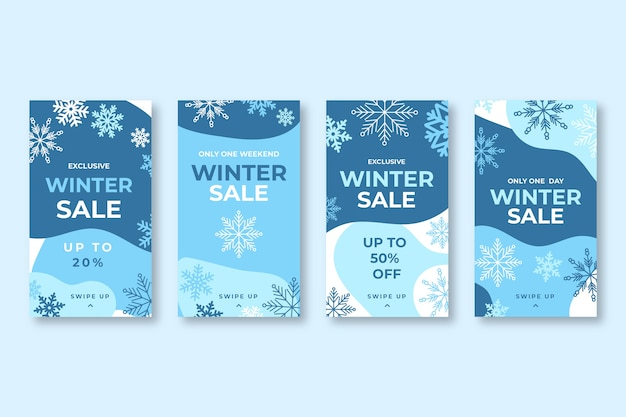 Winter sale instagram story set