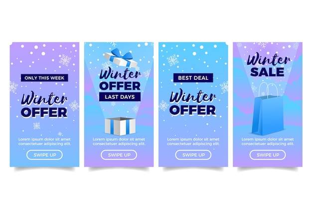 Winter sale instagram story with gift boxes