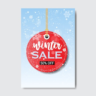 Winter sale lettering round price tag season shopping template special discount offer poster flat