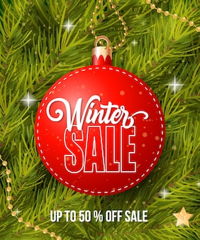 Winter sale lettering on tag