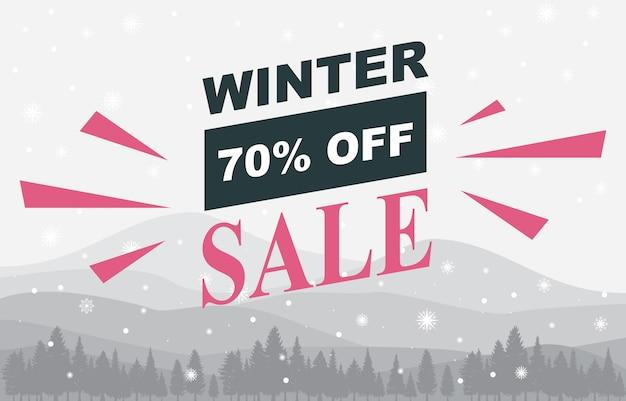 Winter sale marketing promotion snow pine landscape