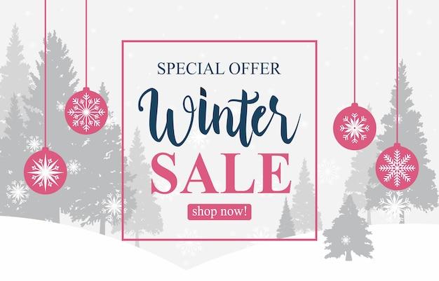 Winter sale marketing promotion snow pine snowflake