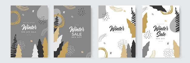 Winter sale and merry christmas greeting cards with hand drawn and organic style trendy abstract win...