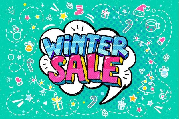 Winter sale message in pop art style, promotional background, presentation poster. vector illustration.
