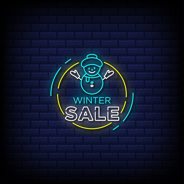 Winter sale neon signs style text