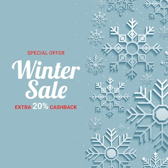 紙カット雪片とテンプレートの冬のセール