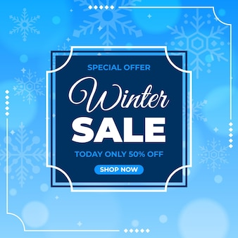 Winter sale offer with drawn snowflakes