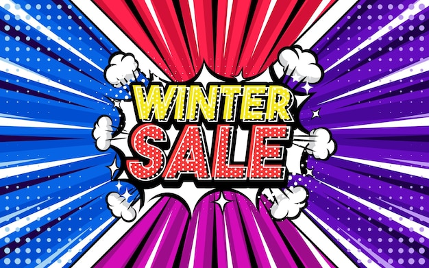 Winter sale pop art style phrase comic style
