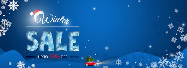 Winter sale poster banner with swirling snowflakes on a dark blue background vector