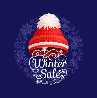 Winter sale poster knitted red hat,  icon