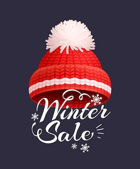 Winter sale poster knitted red hat