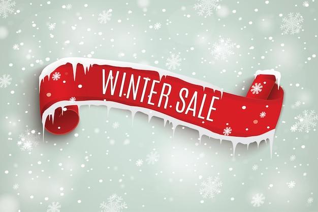 冬のセールの赤い巻物。雪の背景。図。クリスマスと新年