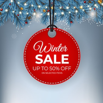 Winter sale red tag banner for seasonal retail promotion.