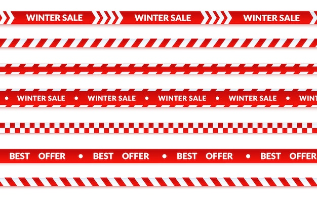 Winter sale ribbons, abstract christmas sale banner set on white. vector caution tape about shopping, best offer holiday banner. graphic illustration in cartoon style.