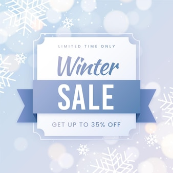 Winter sale snowflakes blurred effect