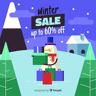 Winter sale snowman holding box background