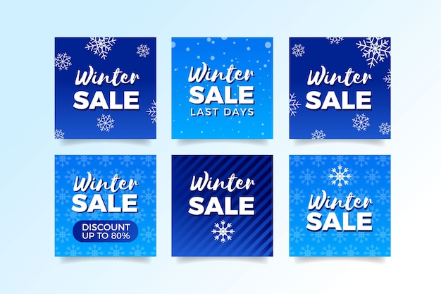 Winter sale social media post collection