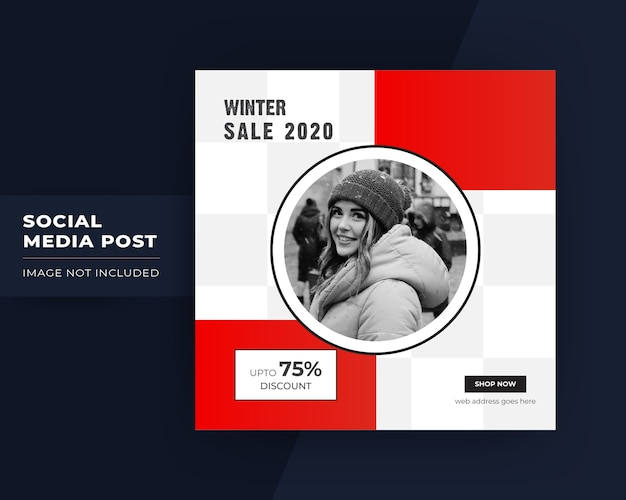 Winter sale social media post for instagram