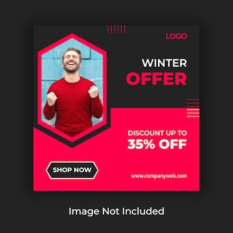 Winter sale social media post template
