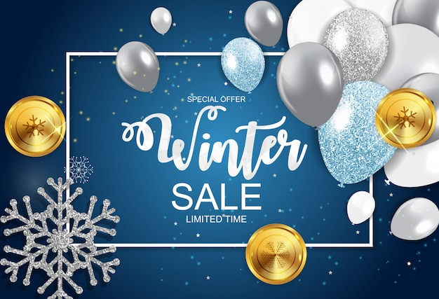Winter sale special offer banner for business and advertising.