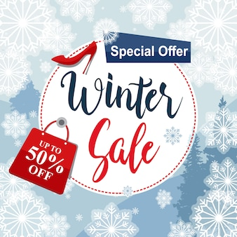 Winter sale special offer label off discount snowflake