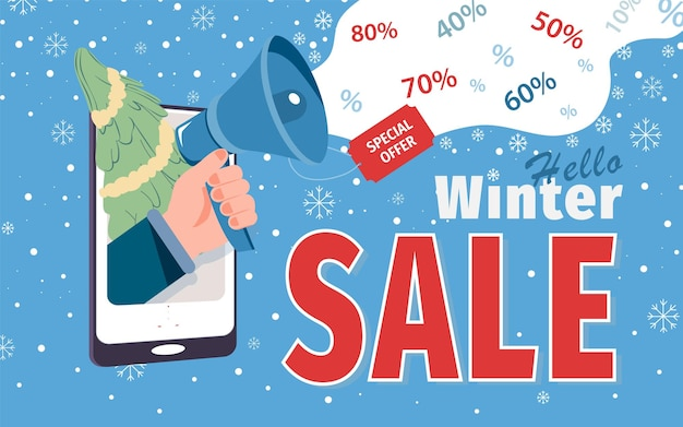 Winter sale special offer for social media network promotion vector. online shopping and marketing flyer with megaphone in hand on smartphone