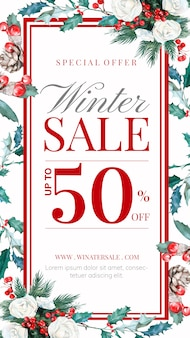 Winter sale story with hand-drawn floral decoration