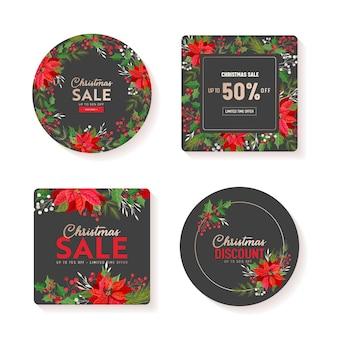 겨울 판매 태그 벡터 배너입니다. 크리스마스 제공 세트, 홀리데이 크리스마스 소매 프로모션. 포인세티아 꽃, 홀리베리, 겨우살이, 꽃 할인, 포스터 디자인 일러스트, 광고, 전단지 컬렉션