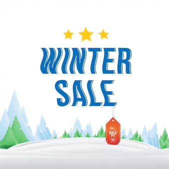 Winter sale tag with label on the nature .  element for merry christmas and happy new year.