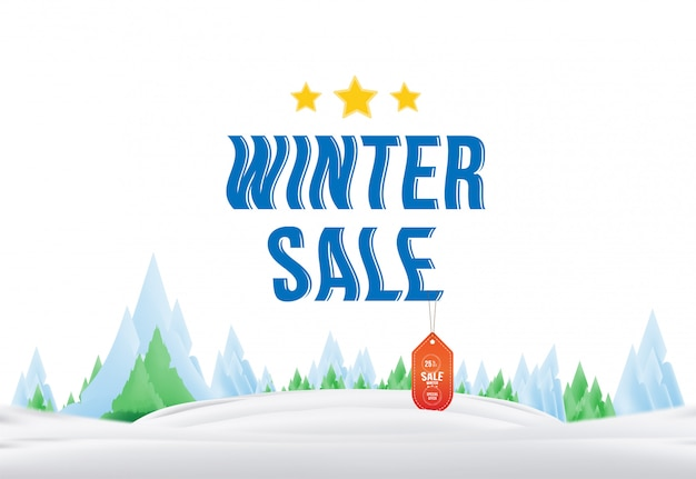 Winter sale tag with label on the nature.  element for merry christmas and happy new year.