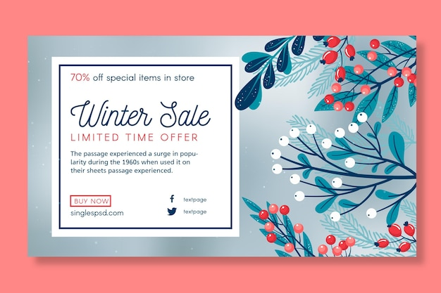 Winter sale template banner