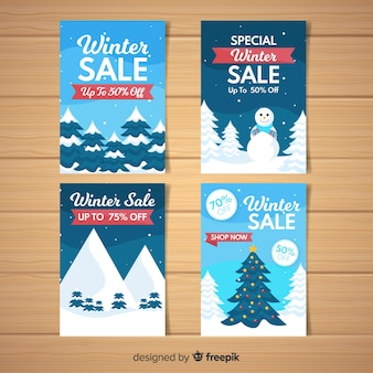 Winter sale trees cards
