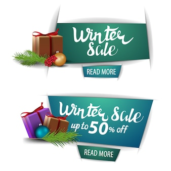 Winter sale, up to 50 off, banners with buttons and presents isolated