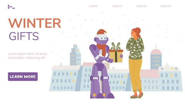 Winter sale web page vector template. robot giving gift to a woman. city background.