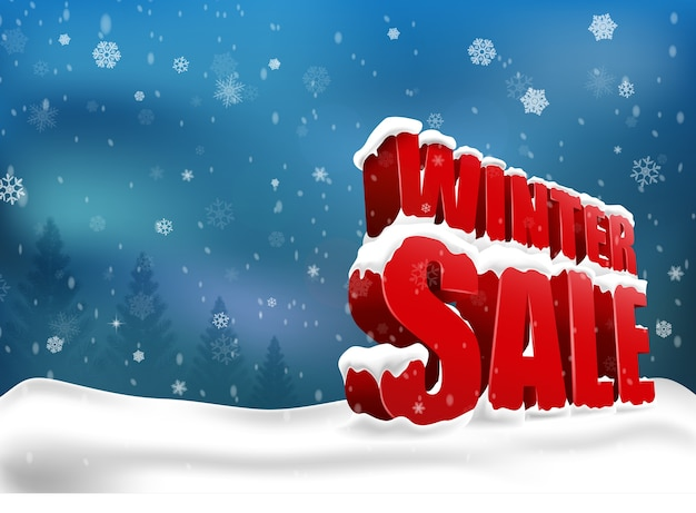 Winter sale on white background. 3d concept