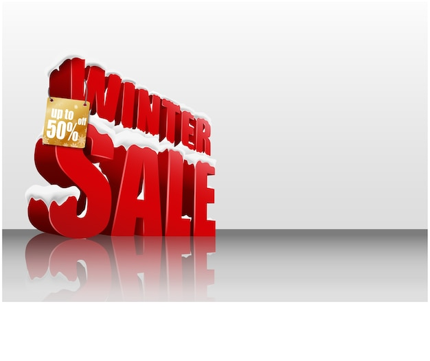Winter sale on white background