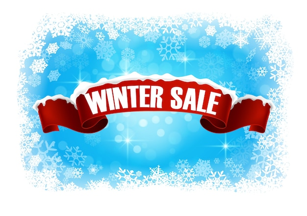 Winter sale with abstract background banner