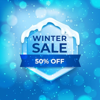 Winter sale with blurred elements