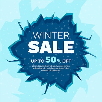 Winter sale with drawn ice