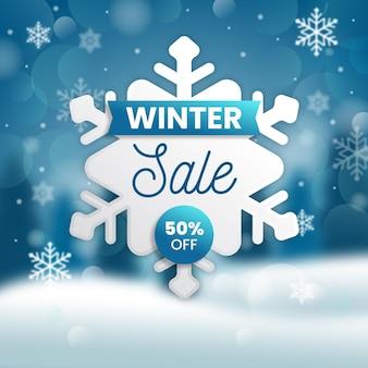Зимняя распродажа со специальной скидкой и размытым фоном