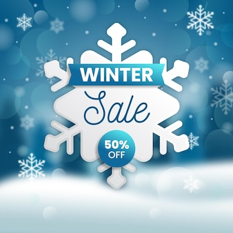 Winter sale with special discount and blurry background