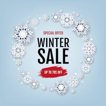 Winter sale with white snowflakes