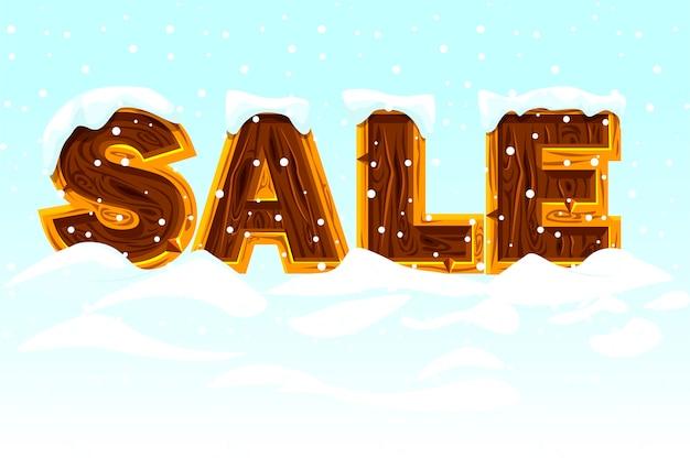 Зимняя распродажа. деревянные буквы, образующие слово продажа на снегу, баннер для маркетинга.
