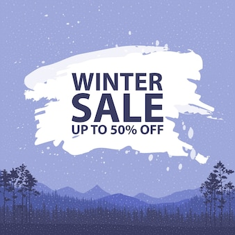 Winter sale words on the beautiful chrismas flat winter holidays landscape background with trees, snowflakes, falling snow. vector illustration