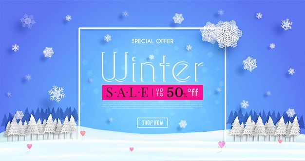 Winter sales banner  with a seasonal cold weather and concept winter advertising illustration or background