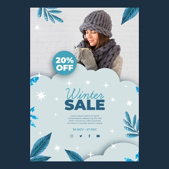 Winter sales poster template with photo